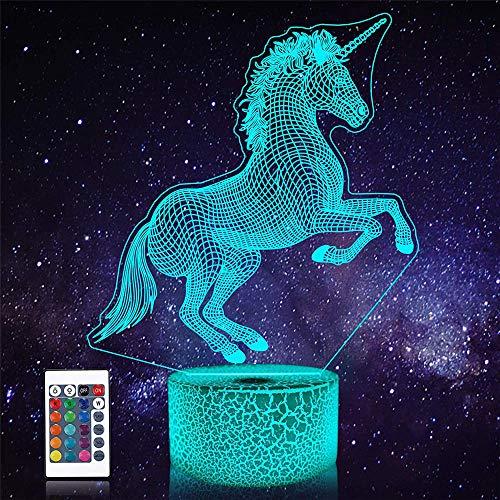 3D Visual Lámpara Unicornio Ilusión Lámparas Carga USB para Decoración del Hogar Juguetes Frescos Regalos Cumpleaños Navidad
