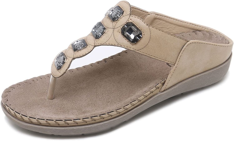 orangetime Women's Bohemia Flip Flops Rhinestone Thong Sandals Beach T-Strap Flats shoes