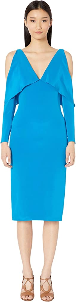 Deep V Pencil Dress with Folded Drape and Open Sleeve