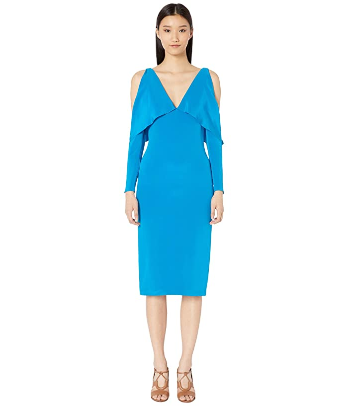 Cushnie Deep V Pencil Dress with Folded Drape and Open Sleeve (Cerulean) Women