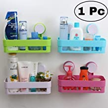 JRM Plastic Multipurpose Kitchen Bathroom Storage Strong Magic Sticker Rack Holder (26 X 12 X 7 cm, Random Color)