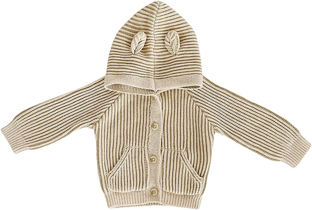 Kid Boys Hooded Knit Cardigan 3D Ears Caps Button-Down Pocket Sweaters Winter Clothes