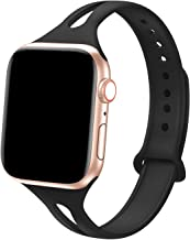 Bandiction Sport Band Compatible with Apple Watch 38mm 40mm, Soft Silicone Sport Strap Replacement Narrow Bands for iWatch Series 4 3 2 1 Sport Edition (Black)
