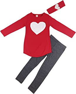 Jastore Kids Girl Cute 2PCS Heart Shaped Clothing Set Long Sleeve Top +Leggings