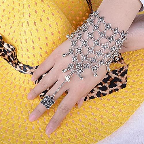 XKMY Cadena de mano con anillo de plata envejecida brillo pulsera brazalete esclavo cadena enlace dedo arnés de mano joyería de moda
