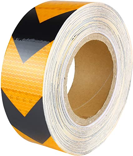 wholesale Larcele Reflective Tape Arrow Warning high quality Safety Stickers Roll Strip 5CM x25M, Black and online Gold FGJ-01 outlet sale