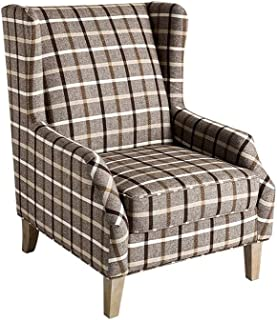 Milton Traditional Neutral Brown Accent Chair Grey Plaid Pattern Fabric Pine Wood Finish Padded Seat