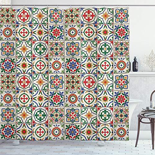ABAKUHAUS marokkanisch Duschvorhang, Buntes Blumenmuster, mit 12 Ringe Set Wasserdicht Stielvoll Modern Farbfest & Schimmel Resistent, 175x180 cm, Mehrfarbig
