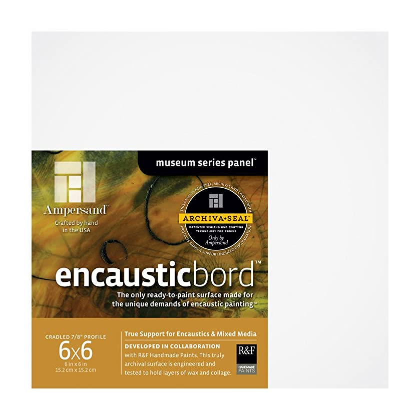 Ampersand Encausticbord Hardboard Panel for Encaustics and Mixed Media, 7/8 Inch Depth Cradle, 6X6 Inch (ENC75066)