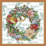 Printed Cross Stitch Kits 11CT 27X27 inch 100% Cotton Holiday Gift DIY Embroidery Starter Kits Easy Patterns Embroidery for Girls Crafts DMC Stamped Cross-Stitch Supplies Needlework Honliday Wreath
