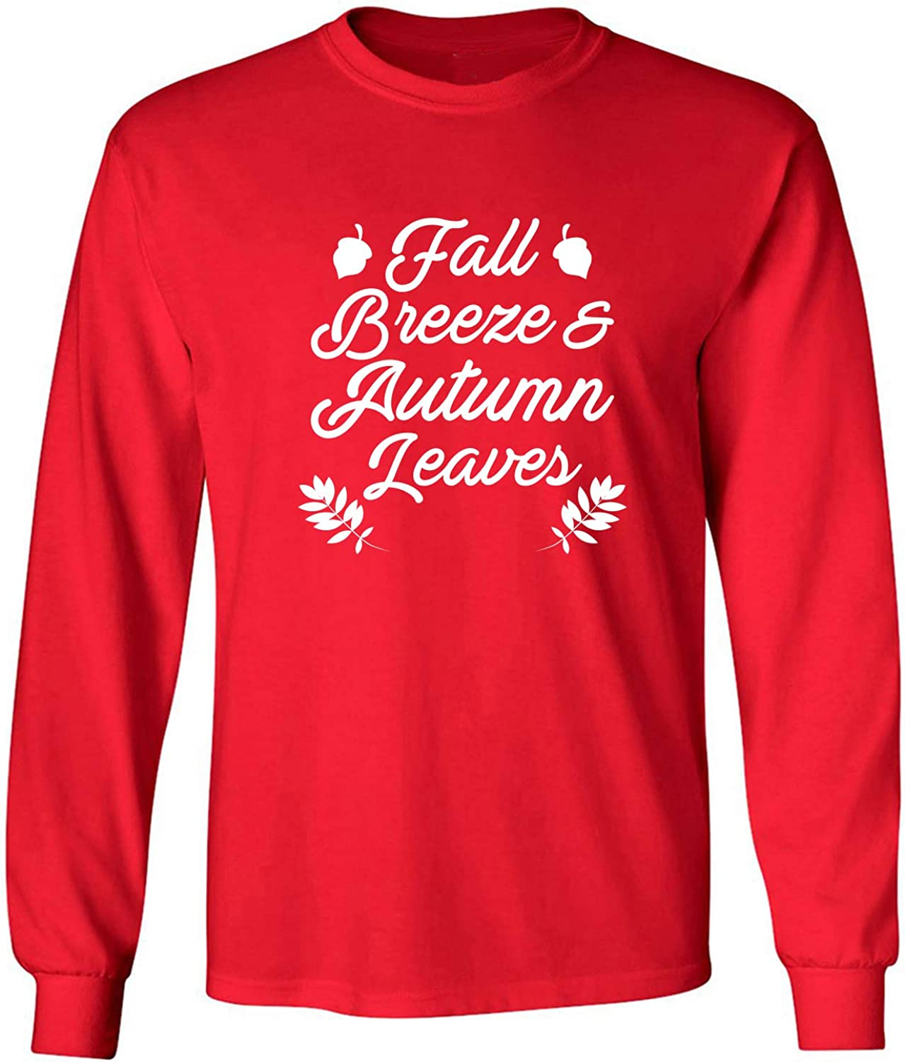 Fall Breeze & Autumn Leaves Adult Long Sleeve T-Shirt in Red - XXXX-Large