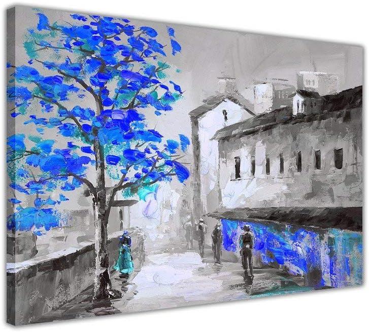 11.8x15.7 Pouces NoBrand Photo sur Toile Noir et Blanc Ville avec des Arbres Bleus Toile Art Mural Photos Moderne d/écor /à la Maison Imprime 30x40 cm sans cadre1