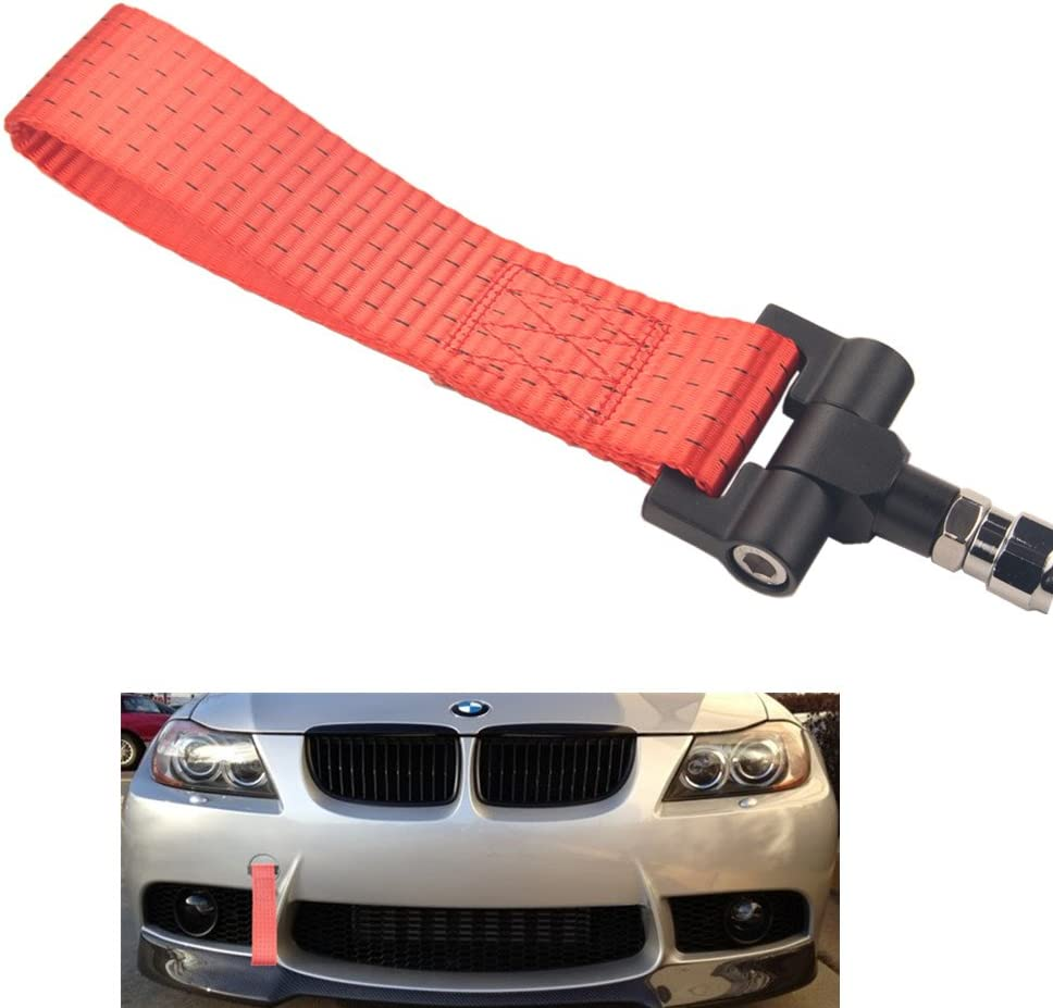 DEWHEL JDM Aluminum Track Racing Front Bumper Car Accessory Auto Trailer Ring Towing Tow Hook Kit Silver Screw On for BMW 1 3 5 Series X5 X6 E36 E39 E46 E82 E90 E91 E92 E93 E70 E71 Mini Cooper
