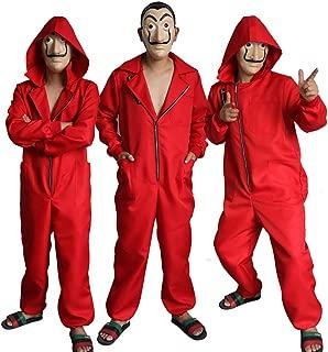 Halloween Karneval Weihnachten Overall Hoodie Jumpsuit Cosplay f/ür Haus des Geldes mit Dali Maske ALBRIGHT Unisex Kinder Festlich Cosplay Kost/üm