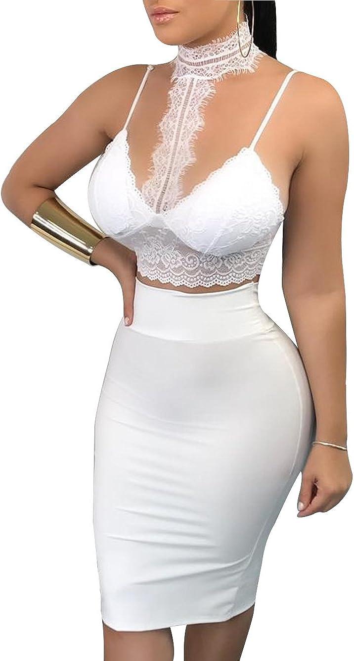 Women Halter Neck Spaghetti Strap Crop Top Bodycon Bandage Club Midi Dress