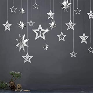 Glitter Silver Star Garlands Kit Metallic 3D Star Hanging Paper Garland Multi-shaped Twinkle Star Birthday Party supplies Wedding Baby Shower Christmas Decorations for Nursery Kids Boys Girls Room