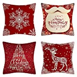 Fundas de almohada navideñas, fundas de almohada de 18 x 18,...