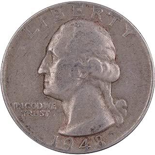 1948 D 25c Washington Silver Quarter US Coin VF Very Fine