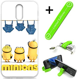 [Ashley Cases] for LG [Aristo 3][Tribute Empire][Phoenix 3,4][Rebel 3,4][Zone 4][Risio 2,3][Fortune 2] Cover Case Skin with Flexible Phone Stand - Minions Pantshanging