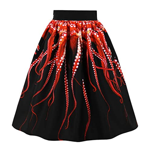 a8babc9366 Killreal Women's Vintage Knee Length Flare Floral A Line Pleated Skirt  Black/White