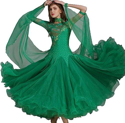 ZYLL Femmes Valse Tango Perforhommece Vêtements élastique Femmes Ballroom Dance Compétition Robe Ballroom Dance Jupes