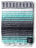 Authentic Mexican Blanket - Yoga Blanket, Handwoven Serape Blanket, Perfect as Beach Blanket, Picnic Blanket, Outdoor Blanket, Yoga Blanket, Camping Blanket, Car Blanket, Woven Blanket (Mint)