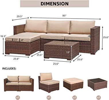 Super Patio Outdoor Patio Furniture Set, 5pc PE Wicker Rattan Sectional Furniture Set with Cushions and Coffee Table, Brown