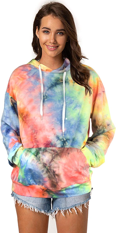 Maintain Vigour Women's Tie Dye Hoodie Sweatshirts Long Sleeve Drawstring Pullover Top with Pocket