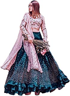 cb73ca5d34 Nancy Fab Women's Silk Embroidered Lehenga Choli (Rama Heavy_Lehenga Choli_  Multicolour, Free Size)