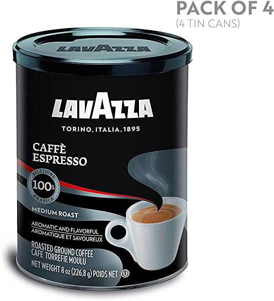 Lavazza Caffe Espresso Ground Coffee Blend Medium Roast 8 Ounce Cans Pack Of 4