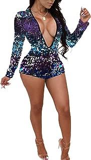 Women's Deep V Neck Long Sleeve Sequin Clubwear Party Bodycon Jumpsuit Romper