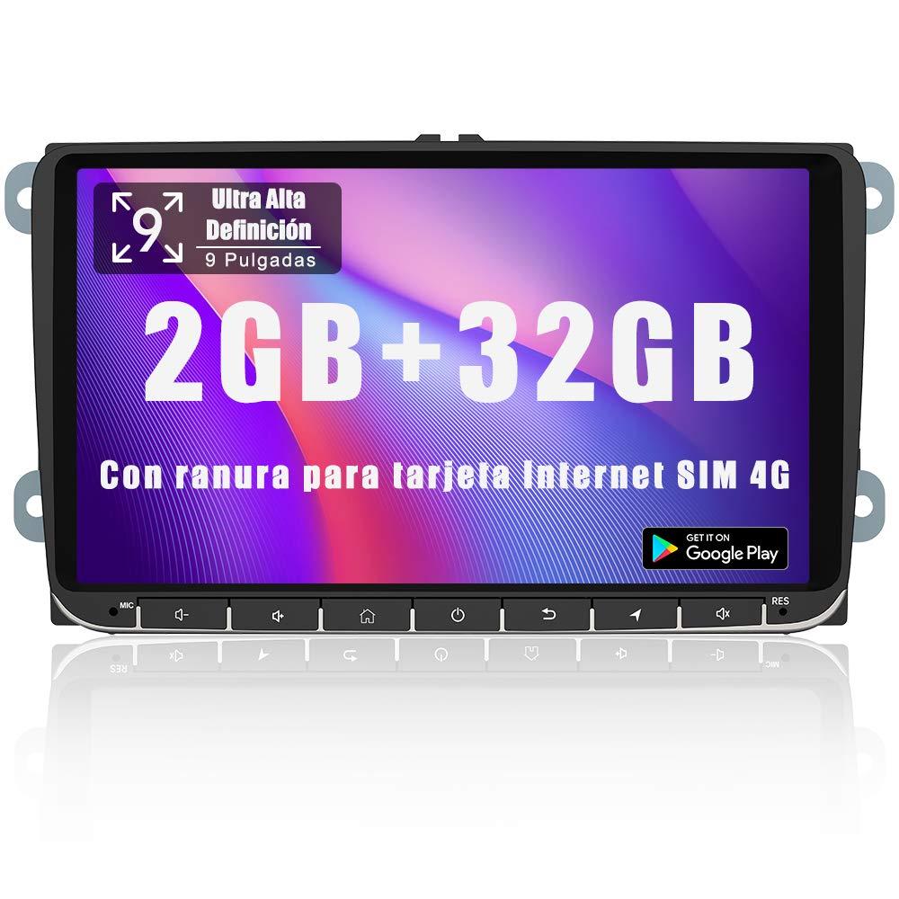 AWESAFE Android 9.0 [2GB+32GB] 9 Pulgadas Radio Coche con Pantalla 2 DIN para VW, Autoradio para VW con 4G/WiFi/GPS/Bluetooth/RDS/USB/FM Am/SD, Admite Mandos del Volante y Aparcamiento: Amazon.es: Electrónica