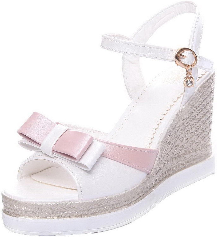 WeenFashion Women's Assorted color Pu High-Heels Open Toe Buckle Sandals