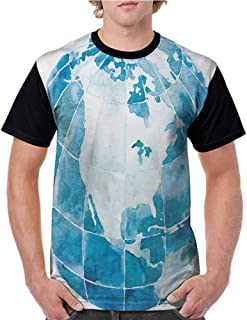 Men Summer Streetwear,Map,Hand Drawn Watercolor Style Globe Sphere with North America Continent Paint Effect,Blue White S-XXL T Shirt Print Short Sleeve