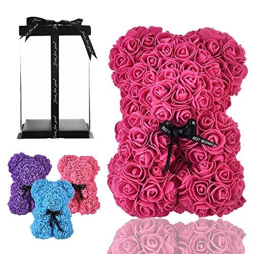 Osito oso rosa osito oso rosas oso de rosas regalos para mamá mujeres sus regalos para niñas adolescentes aniversario regalos madre, oso de rosa hecho mano flor Valentín- oso rosa con caja (Rosa rojo)