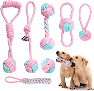 Itsforthedogs Pink Dog Rope Toys Dog Puppy Set, Durable Dog Teething Natural Cotton Rope Chew Toy for Chewing Teeth Cleani...
