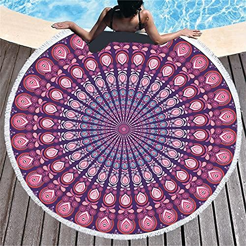 BDBY Manta de Toalla de Playa de Microfibra Redonda Grande, Manta Abstracta de Lujo para niña de Lujo para niña de Lujo Mata, Toalla de Piscina Absorbente Suave