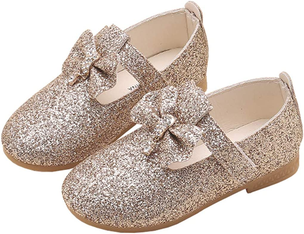 lakiolins Max 59% San Jose Mall OFF Little Girl Bowknot T-Straps Mary Glitter Ballet Flats