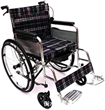 Lightweight Wheelchair Foldable Easy to Carry Potty Elderly Disabled Four Brakes Push-Type Suitable for Elderly People with Disabilities, Ultra-Light Self-propelled Manual Walker (Color : A)