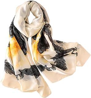 GERINLY Womens Silk-Like Head Scarf, Retro Floral Satin Wrap For Hair