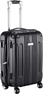 Carry On Luggage 20-inch ABS Expandable Hardside Travel Bag Trolley Suitcase GLOBALWAY (Black)