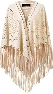Women's Suede Fringe Open Poncho Shawl Wrap with Punch Hole Patterns and Graceful Fringes