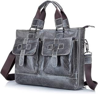 Mens Shoulder Bag Men's Shoulder Tote Crossbody Business Briefcase Leather Multifunction Computer Portable Soft Leather Men's Bag Shoulder Handbag Casual Crossbody Bag (Color : Bronze, Size : L)