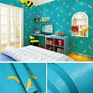 autoadhesivo Ladrillo grueso patrón ladrillo PVC papel pintado autoadhesivo impermeable autoadhesivo papel pintado decorativo etiqueta de la pared-Plátano de dibujos animados_Los 45cm * 10m