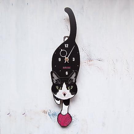 C-47 白黒ハチワレ-猫の振り子時計