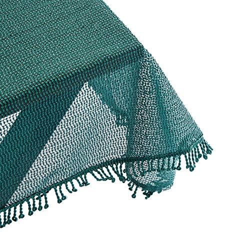 Holistar c0802 Tafelkleed voor tuintafel, rechthoekig of rond, met kwast, tafelkleed van zacht schuim, antislip, weerbestendig, weerbestendig, outdoor 130 x 160 cm donkergroen
