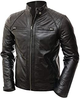 Men's Classic Diamond Black Biker Quilted Vintage Motorcycle Real Leather Jacket