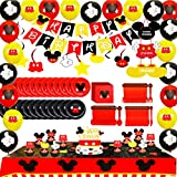 Mickey Themed Party Supplies 198pcs Mouse Party Decorations Including Spoons, Fork, Knife, Plates, Tablecloths, Banner, Napkins, Cake Toppers, Banners,Balloons,Hanging Swirls Mickey Themed Birthday Decorations,Serve 20 Guests
