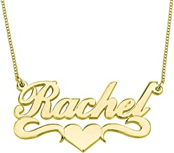 HACOOL Personalized Names Custom Name Necklace Pendant in 18K Gold Plated Custom Made with Any Name Chain