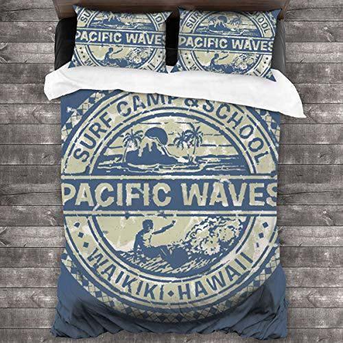 3 Piezas Juego Funda De Diseño Personalizado,Pacific Waves Surf Camp y School Hawaii Logo Motif con diseño artístico,Ropa de Cama Set 1 Edredón 2 Fundas de Almohada Microfibra jueg(220 * 230cm)